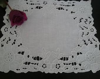 SALE!!! Linen Eyelet Doily,Linen Doily,Linen Home Decoration,Handmade Linen Doily, Linen Doily with Richelieu Embroidery,
