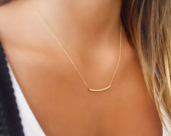 Gold Filled Tube Necklace ; Delicate Tube Necklace ; Dainty Gold Filled Necklace ; Layering Gold Necklace