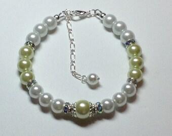 Pale Green Kahki Pearl Bridesmaid Bracelet