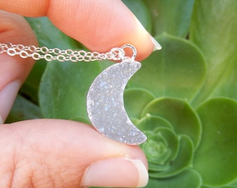White Moon Druzy Necklace Silver Crystal Crescent Quartz Raw Drusy Pendant Sterling Silver Chain - Free Shipping Jewelry