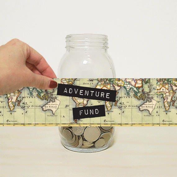 Adventure Fund Digital Label For Diy Money Jar Piggy Bank For