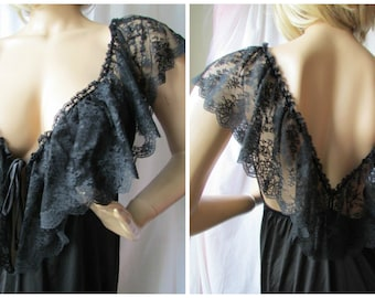 """CLAIRE HADDAD NIGHTGOWN fabulous 70's full-length Size Medium jet black nylon with deep 6.5"""" Lace Ruffle"""