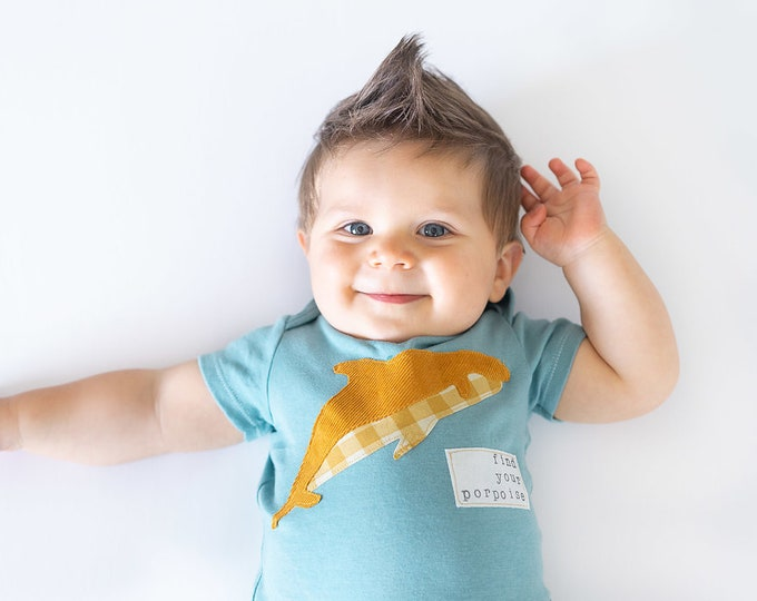 """Swanky Shank """"Find Your Porpoise"""" Hand-Dyed Bodysuit or Tee"""