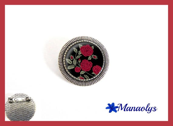 Brooch round silver aged, pink red, flowers, glass cabochons
