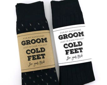 Cold Feet Sock Wrapper, Groom Gift, Wedding Day Gift, Wedding Socks Wrapper, Wedding Socks Label