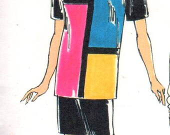 "SALE** Kwik Sew 2080, Sz 8-22/XS-XL/Bust 31.5-45"".  Color Block Tunic Top/Tshirt, Kwik Serge Misses sewing pattern"