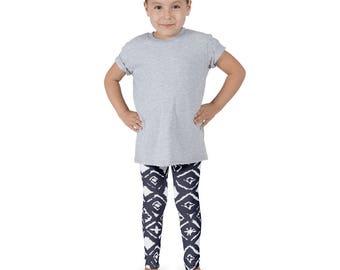 Blue and White Ikat leggings