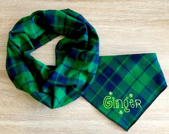 Dog and Owner Set. Emerald Green and Navy Blue.  Custom monogram.  Soft flannel design with optional HuMom infinity scarf.