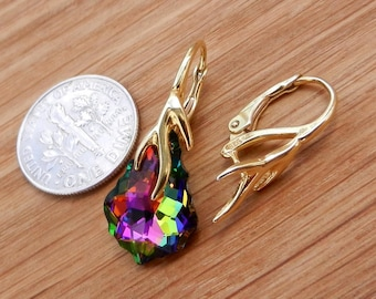 Hight quality Vermeil 14k gold over sterling silver lever back ear wires with pinch bail for Swarovski Crystals or other beads Findings