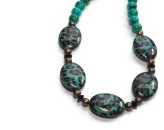Genuine Turquoise Necklace, Leopard Print Beads, Bronze Pearls, Animal Print, Turquoise Jewelry, December Birthstone, Wild, Boho, Nature