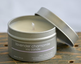 Lavender Chamomile Soy Candle Tin 4 oz. - lavender soy candle - chamomile soy candle - relaxing soy candle - spa soy candle