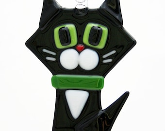 Glassworks Northwest - Black Cat w/ White Cheeks - Fused Glass Ornament