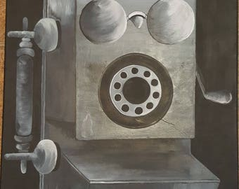 "ORIGINAL Telephone Acrylic Painting- Black and White/ Monochrome 20"" x 16"""