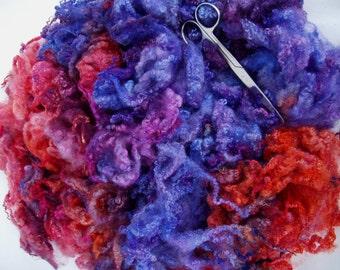 120g (24.58 Euro/100g) 4.2oz Bluefaced Leicester curly fleece wool, hand dyed fleece, felting wool, dolls hair,blue, orange, 100% wool
