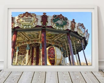 Carousel Print Merry go Round Picture France Travel Photo Red Nursery Decor Girl Room Art Carnival Photography Retro Wall Print Provence