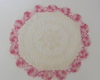 Vintage White and Pink doily, Round doily, Hand crocheted doily