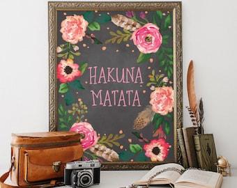 Disney Quote, Hakuna Matata, Nursery Decor, Baby Girl Nursery, Girl Nursery Decor, Nursery Wall Art, Hakuna Matata Print, The Lion King, 090