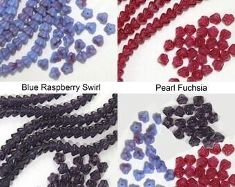 Czech pressed glass baby bell flower 4x6mm beads blue raspberry, fuchsia, tanzanite 50 pieces
