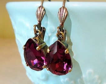 Small Purple Dangle Earrings, Crystal Amethyst Dangle Earrings, Swarovski Crystal, Purple Earrings, Fall Jewelry, Brass earrings