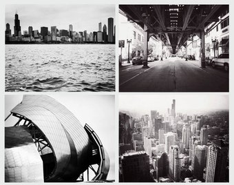 Chicago photographs, set of 4, Chicago photography, black and white, fine art photos, architecture, Chicago art, discounted set