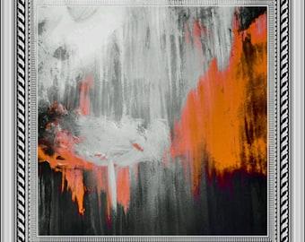 orange abstract art orange giclee print acrylic  painting original  acrylic art abstract on paper original abstract painting wall art print