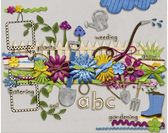 Plant a Garden Elements & Alpha for Digital Scrapbooking