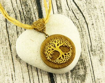 Celtic Tree of Life - Necklace - Antique Gold, Earthtone, Silk