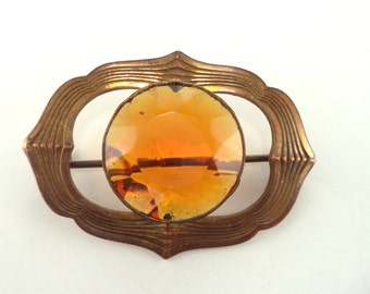 Antique Victorian Brass and Amber Citrine Color Glass Sash Pin Brooch
