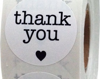 "1"" Inch White/Black Round Thank You Stickers 