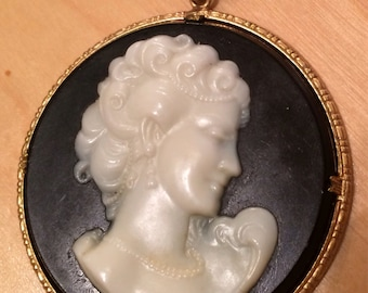 Black & Ivory Cameo Pendant on 24KGB Necklace
