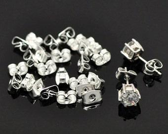 10pr Silver Plated Earring Ear Nuts 6 x 4mm (B23d)