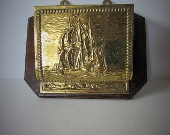 Stunning Antique/Vintage Brass Letter Rack-  Old Viking Sailing Ship Wall Mount  /MEMsArtShop.