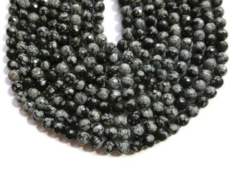 Black Snowflake Obsidian - Faceted 6mm Round Bead - Full Strand - 60 beads - black and gray stone