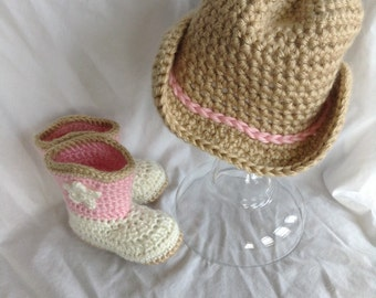 Baby girl Cowboy Hat and Boot set