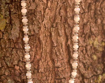 White Crystal and Tibetan Silver Women's Long Necklace with Magnetic Clasp