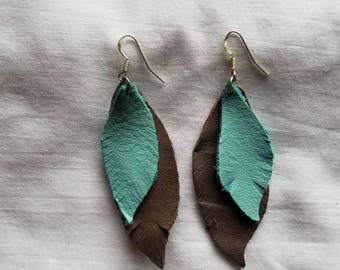 Double leather feather earring