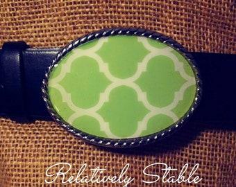 preppy belt, tropical belt, preppy lime quatrefoil  belt buckle-fits snap belts IN STOCK