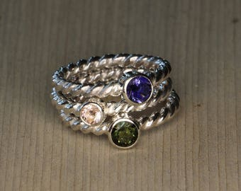 Set of Stackable Sterling Silver Rings -  Featuring Iolite, Morganite and Moldavite Gemstones - Bezel Set - Rope