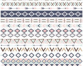 """Tribal Border Set """"AZTEC BORDERS"""" Clipart, Aztec Ribbon, Ethnic Borders, Native American Borders, Borders.14 images Png files 300 dpi.Trb009"""