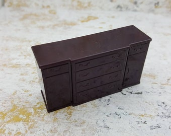 Marx Dining room  Sideboard   Toy Dollhouse Traditional Style hard Plastic brown