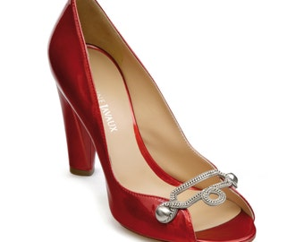 Pump open toe jewelry - Red