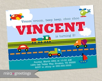 Transportation Birthday Party Invitation - Train invite - car invitations dump truck rocket  (DIY Printable Digital File OR Printed cards)