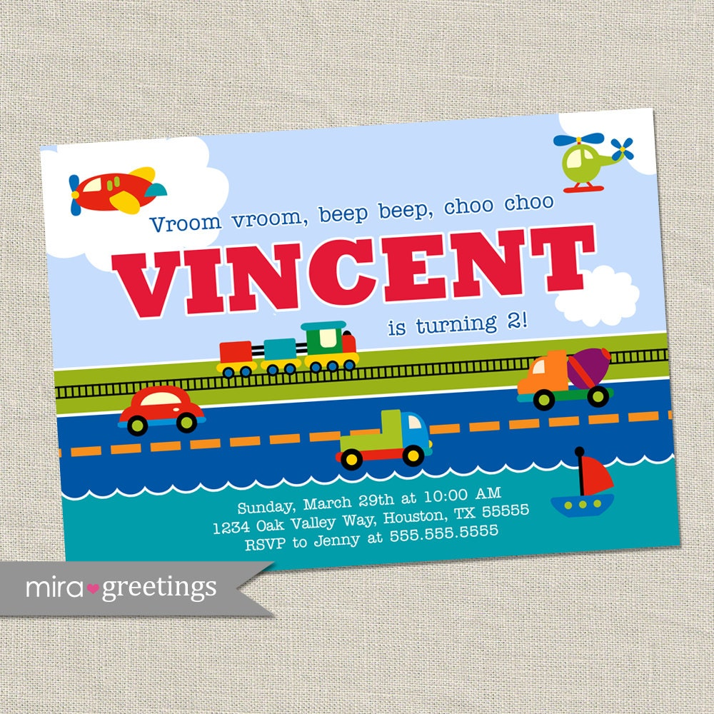 Transportation Birthday Party Invitation - Train invite - car ...