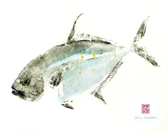 8 x 10 Hawaiian Fish Print in Black Mat Ulua Travally Gyotaku