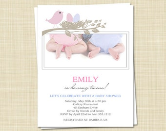 Twins Baby Shower Invitations - BABY BIRD - set of 10 - PRINTED