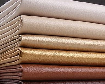 Colorful Litchi grain Faux Leather, PU Leather Fabric, Soft Matte Imitation Leather--Half Yard (QT1037)