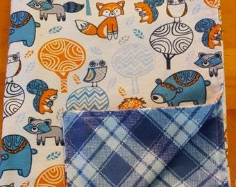 Flannel blanket, receiving blanket, Baby shower gift, nursery blanket, blue receiving blanket, forest animal blanket, crib blanket