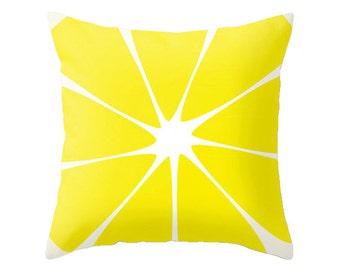 Lemon throw pillow cover. Lemon pillow watermelon cushion yellow cushion yellow pillow yellow throw pillow yellow decorative pillow