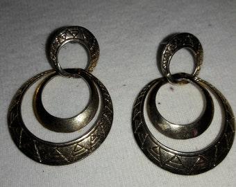 Damascene Vintage Pierced Earrings