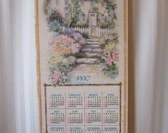 """VINTAGE Asian Scroll, 1990 CALENDAR, Double-Sided, House & Prayers, 32"""" x 12.5"""" (#749)"""